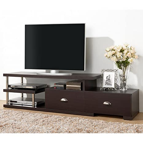Baxton Studio WI4885 (3A) Ferguson Modern TV Stand with Drawers and Shelves, Dark Brown