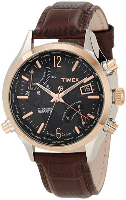 Timex Men's T2N942DH Intelligent Quartz World Time Watch 天美时计时腕表(可预订)-奢品汇 | 海淘手表 | 腕表资讯