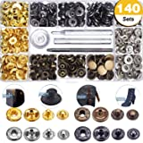 140 Sets Snap Fasteners Kit for Leather/Clothing, 12.5mm Metal Clothing Snaps Kit for Leather, Jacket, Jeans Wear, Bracelet, Bags (Color: 140 Set Snap, Tamaño: Snaps)