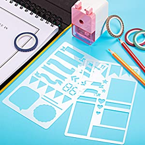 68 Pieces Journal Stencil Washi Tape and Journal Planner Pen Starter Full Set for Scrapbook Journal Notebook Diary DIY Plastic Drawing Template (Style B) (Color: Style B, Tamaño: 68 Pieces)