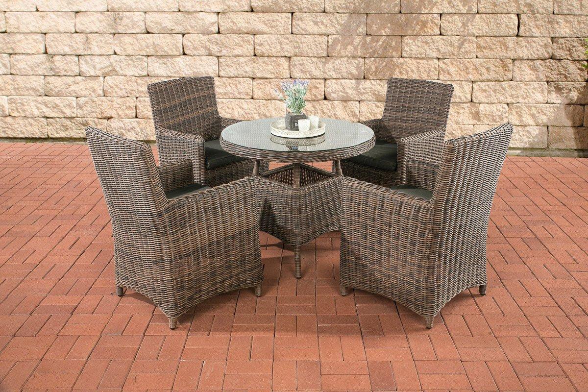 CLP Polyrattan Sitzgruppe CASOLI, braun-meliert (4 Stühle mit Tisch 90 x 90 cm) INKL. bequemen Sitzkissen, Premiumqualität: 5 mm Rund-Rattan braun-meliert, Bezugfarbe anthrazit