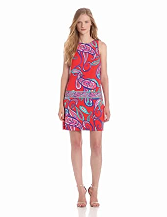 Ali Ro Women's  Printed Sleeveless Drop Waist Dress, Rouge Multi, 10