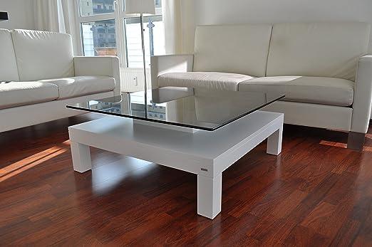 DESIGN COUCHTISCH Tisch V-570H weiß getöntes Glas Carl Svensson
