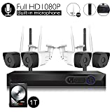 Wireless Security Camera System with Audio Built-in Microphone, CamView 4CH 1080P Wireless Network Video Recorder with 1TB Hard Drive, 4PCS 1080P Indoor/Outdoor IP Camera, P2P, 65ft Night Vision (Tamaño: 1080P)
