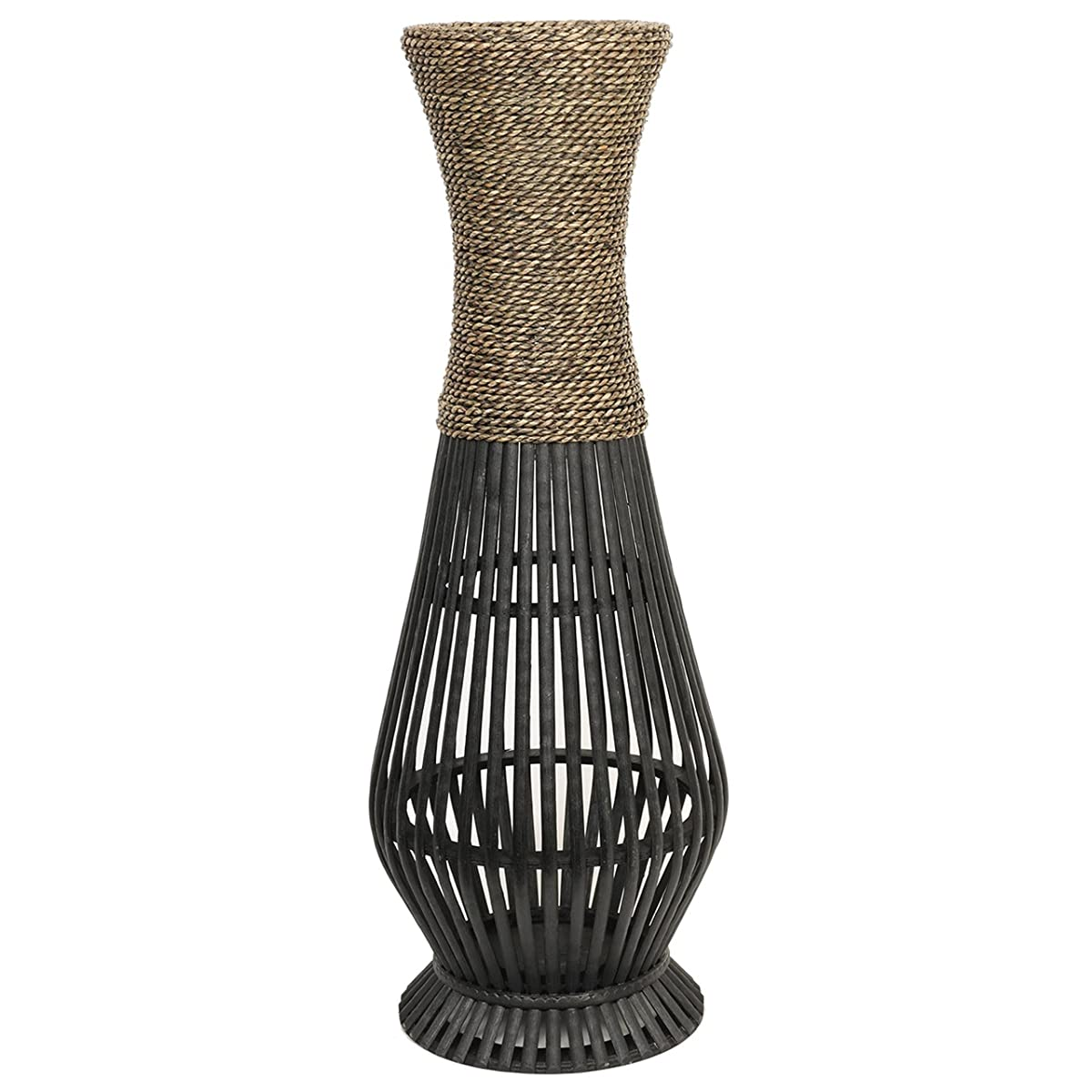 Bamboo Wood Tall floor Vase. Ideal Gift for home, office, spa, Reiki, organic/natural settings, wedding, dried floral arrangements