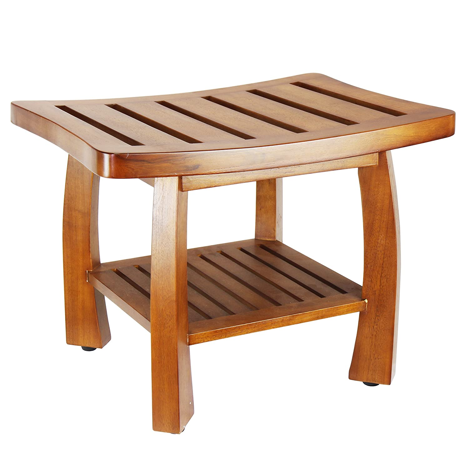 Floor stool bathroom solid teak wood portable spa bench furniture shower seat ebay Bath bench