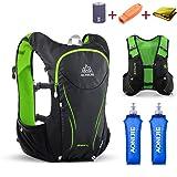 TRIWONDER Hydration Pack Backpack 5L Lightweight Deluxe Marathoner Running Race Hydration Vest (Black & Green - with 2 Soft Water Bottles, M/L - 34.6-39.4in) (Color: Black & Green - with 2 Soft Water Bottles, Tamaño: M/L - 34.6-39.4in)