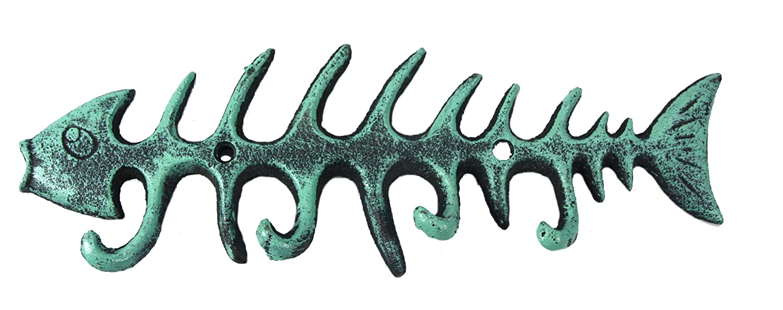 Fishbone Antique Verdigris Wall Hanger / Hooks – Cast Iron for Coats, Aprons, Hats, Towels, Pot Holders, More