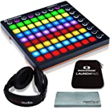 Novation Launchpad MK II Ableton Live Controller Bundle with Novation Launchpad Soft Carry Sleeve + Headphones + FiberTique Cleaning Cloth (Tamaño: Basic)