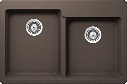 SCHOCK ALIN175T063 ALIVE Series CRISTALITE 60/40 Topmount Double Bowl Kitchen Sink, Mocha