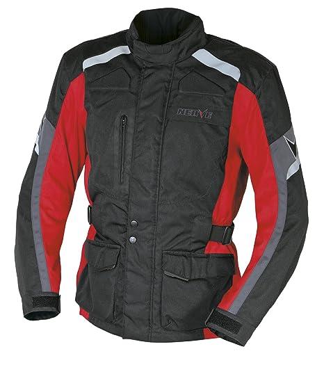 NERVE 1510110601_03 EXT Blouson Moto Touring Textile, Noir/Rouge, Taille : M