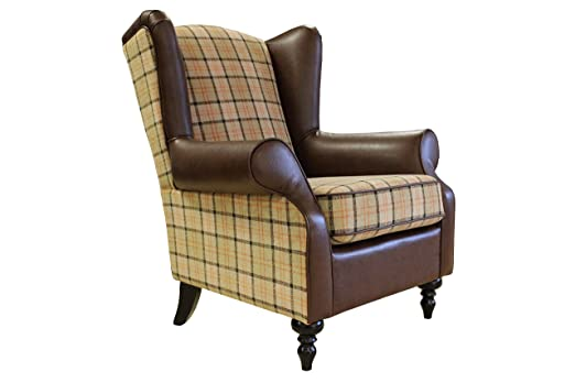 The Orkney - Quality Tartan Fabric / Faux Leather Winged Chair - Beige
