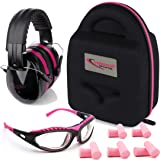 TRADESMART Shooting Range Earmuffs and Glasses - Ear and Eye Protection for The Gun Range with Protective Case, - UV400 Anti-Fog and Anti-Scratch, Clear Safety Glasses - NRR 28 (Pink) (Color: Pink & Black)