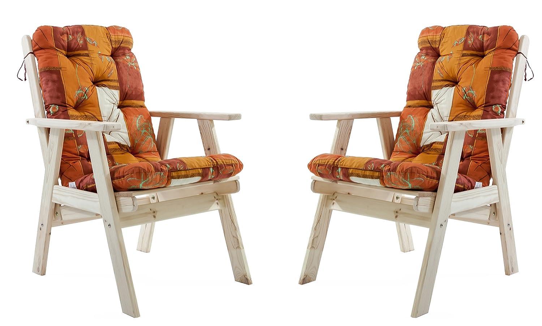 Ambientehome Gartensessel verstellbarer Sessel Stuhl Gartenstuhl Massivholz Hochlehner inkl. Kissen VARBERG, Natur, 2-teiliges Set