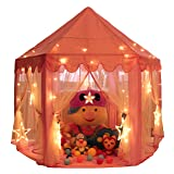 Monobeach Princess Tent Girls Large Playhouse Kids Castle Play Tent with 20 Feet Star Lights for Children Indoor and Outdoor Games, 55'' x 53'' (DxH) (Color: Pink, Tamaño: Pink 1)