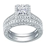 e03484abaf753f Newshe Engagement Wedding Ring Set For Women 925 Sterling Silver 1.5ct  Princess White AAA Cz