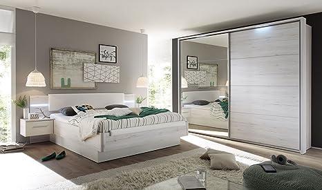 Schlafzimmer-Set mit Bett 180 x 200 cm in Weisseiche