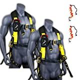 KwikSafety (Charlotte, NC) TYPHOON (2 PACK) ANSI Fall Protection Full Body Safety Harness Personal Protective Equipment Dorsal Ring Side D-Rings Grommet Leg Straps Tool Lanyard Bolt Pouch Construction (Color: Tongue Buckle, Tamaño: 2 Pack (SAVE $5))