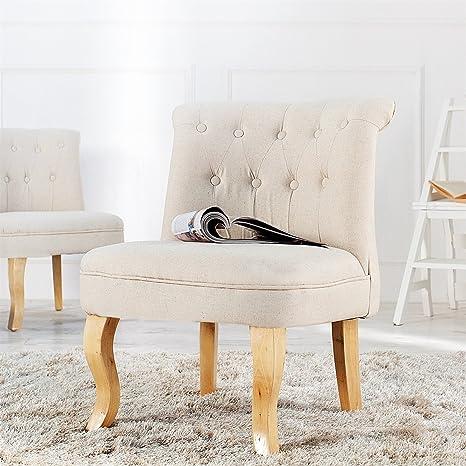 "ELEGANTE POLTRONA ""LUDWIG"" | beige, 75 cm, con braccioli | sedia imbottita"