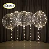 LED Light up bobo Balloons with 3 Meter Long String use with Helium or air (Warm White) (Color: Warm White)