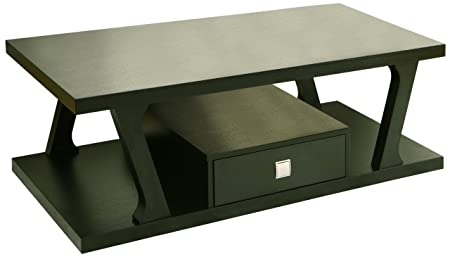 Furniture of America Brix 1-Drawer Rectangular Coffee Table, Black