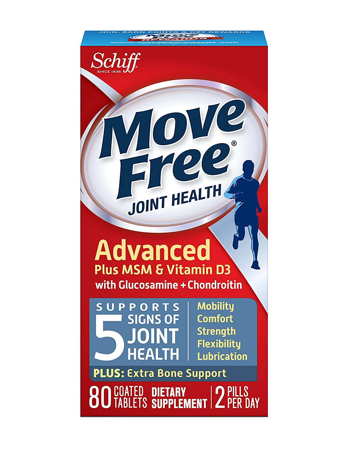 Move Free Joint Health Advanced Plus MSM & Vitamin D3 with Glucosamine+Chondroitin and Hyaluronic Acid Joint Supplement-Plus Extra Bone Support, 80 tablets