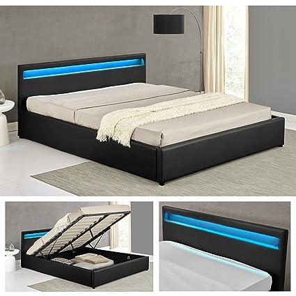 OHIO Schwarz LED Doppelbett Polsterbett Gasdruckfeder Bett Lattenrost Kunstleder (160 x 200cm)