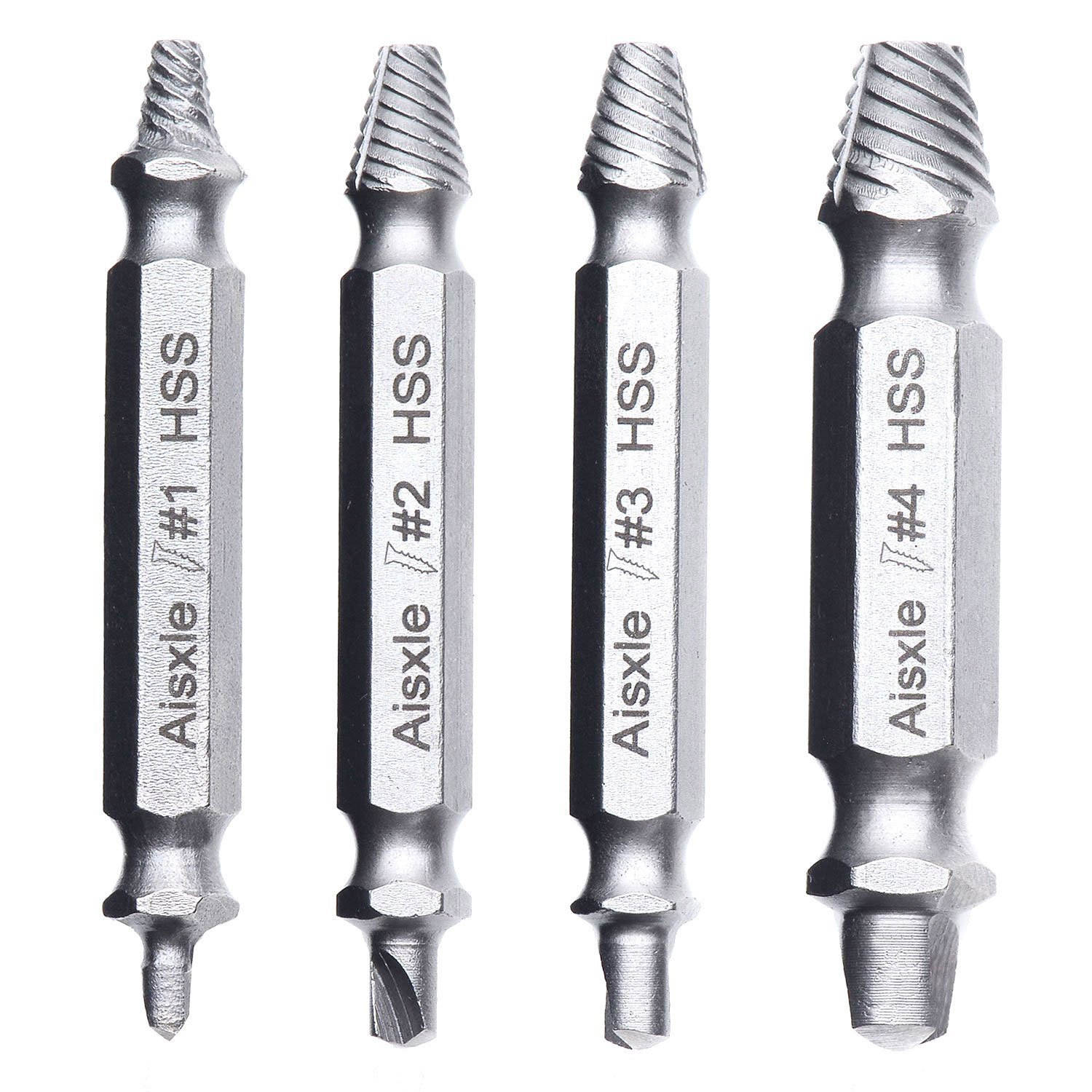 Damaged Screw Remover and Extractor Set by Aisxle,Easily Remove Stripped or Damaged Screws. Made From H.S.S. 4341#, the Hardness Is 62-63hrc,Set of 4 Stripped Screw Removers
