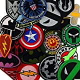 Iron Sew on Applique Patch : 10 Patches Random Assorted Size and Style Flower Sport Motor Car Super Hero Movie Music Band Animal Military Text Space Mushroom Aum Cartoon  eMoji Fruit Tree and  more (Color: Random 10 Patches)