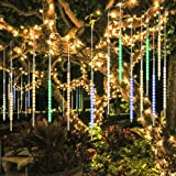 BlueFire Upgraded 50cm 10 Tubes 540 LED Meteor Shower Rain Lights, Drop/Icicle Snow Falling Raindrop Cascading Lights for Wedding Party Christmas New Year Garden Tree Home Decor (Multicolor) (Color: Multicolor)