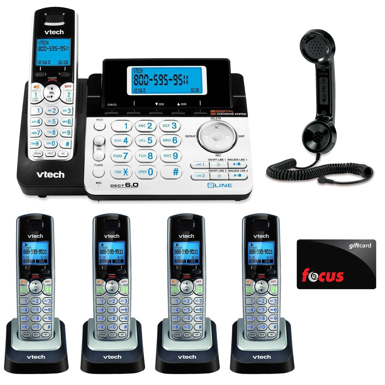 VTech DS6151 2-Line Expandable Cordless Phone with Digital Answering System and Caller ID with Extra Handset Bundle