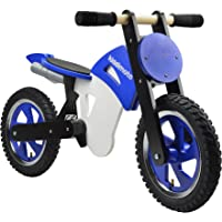 Kiddimoto Kids Scrambler Wooden Balance Bike (Blue/White)