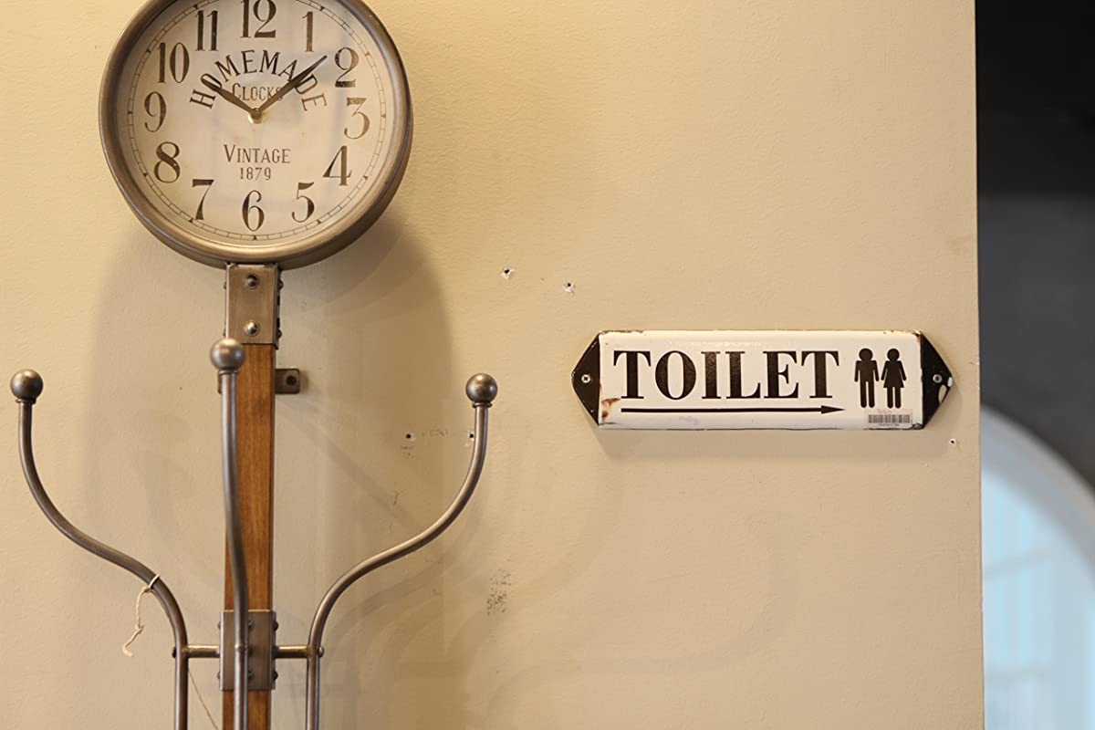 NIKKY HOME Vintage Rustic Toilet Door Sign Wall Plague Sign 12 In by 3.12 In