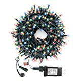 Decute Multi-Color Christmas String Lights Waterproof 300LED 105FT UL Certified with End-to-End Plug 8 Modes, Outdoor Indoor Starry Fairy Lights for Christmas Tree Patio Garden Wedding Party Decor (Color: multi color, Tamaño: 105FT 300LED Multi-color)