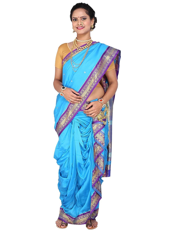 Designer Peshwai Nauvari Saree - Sky Blue Color