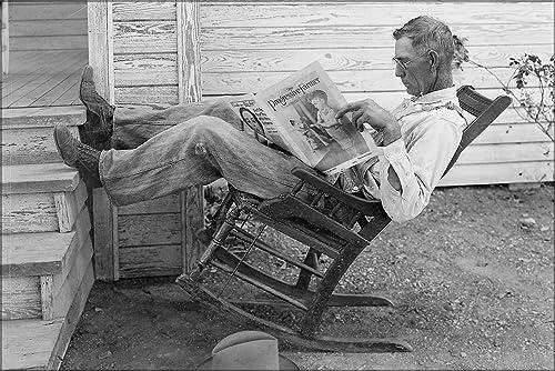 Farmer Reading Newspaper, Coryell Co, Texas, Great Depression 1931