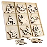 27 Pcs Halloween Wooden Gift Tags Blank Wooden Decorative Hanging Ornaments Cutouts Crafts with 27 Pcs Twine Ropes for Kids Halloween Tree Decoration(Hat) (Color: Hat)