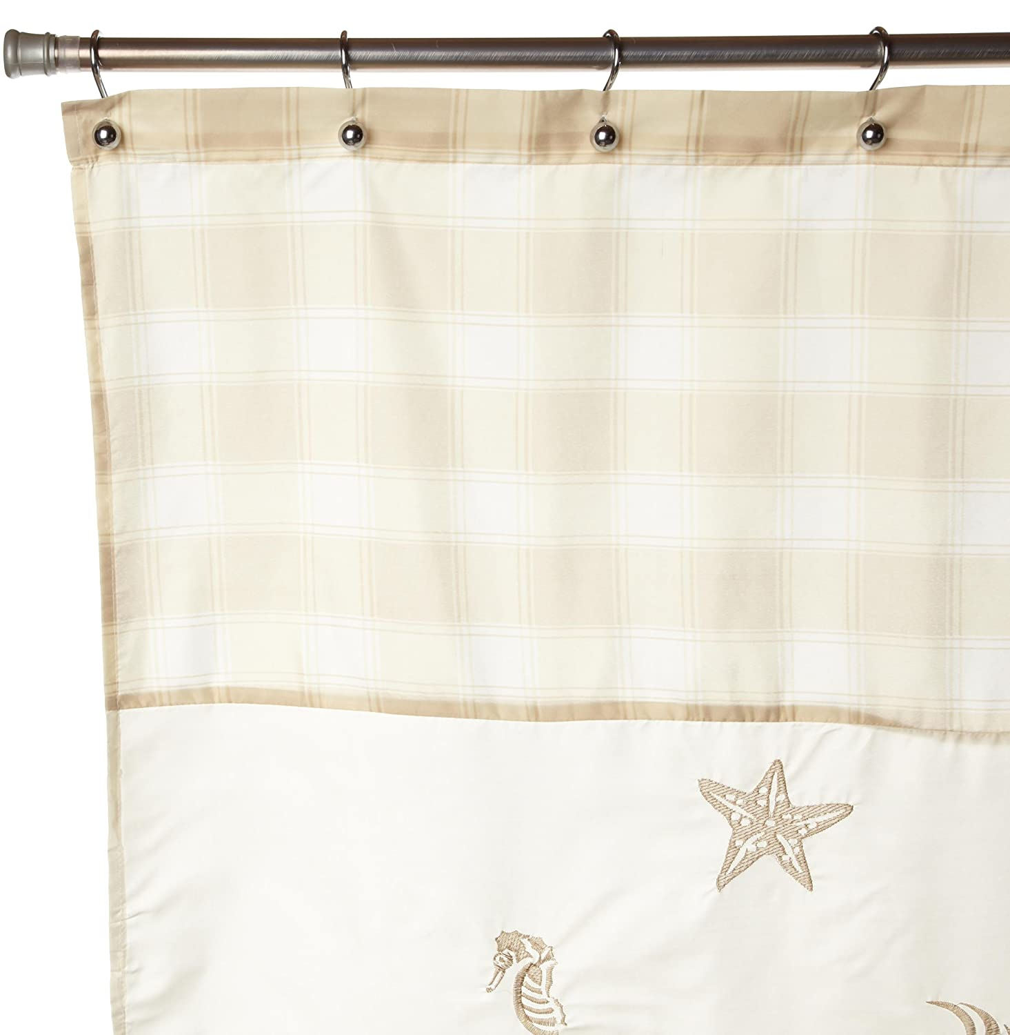 Sea shell embroidered fabric shower curtain beige quot