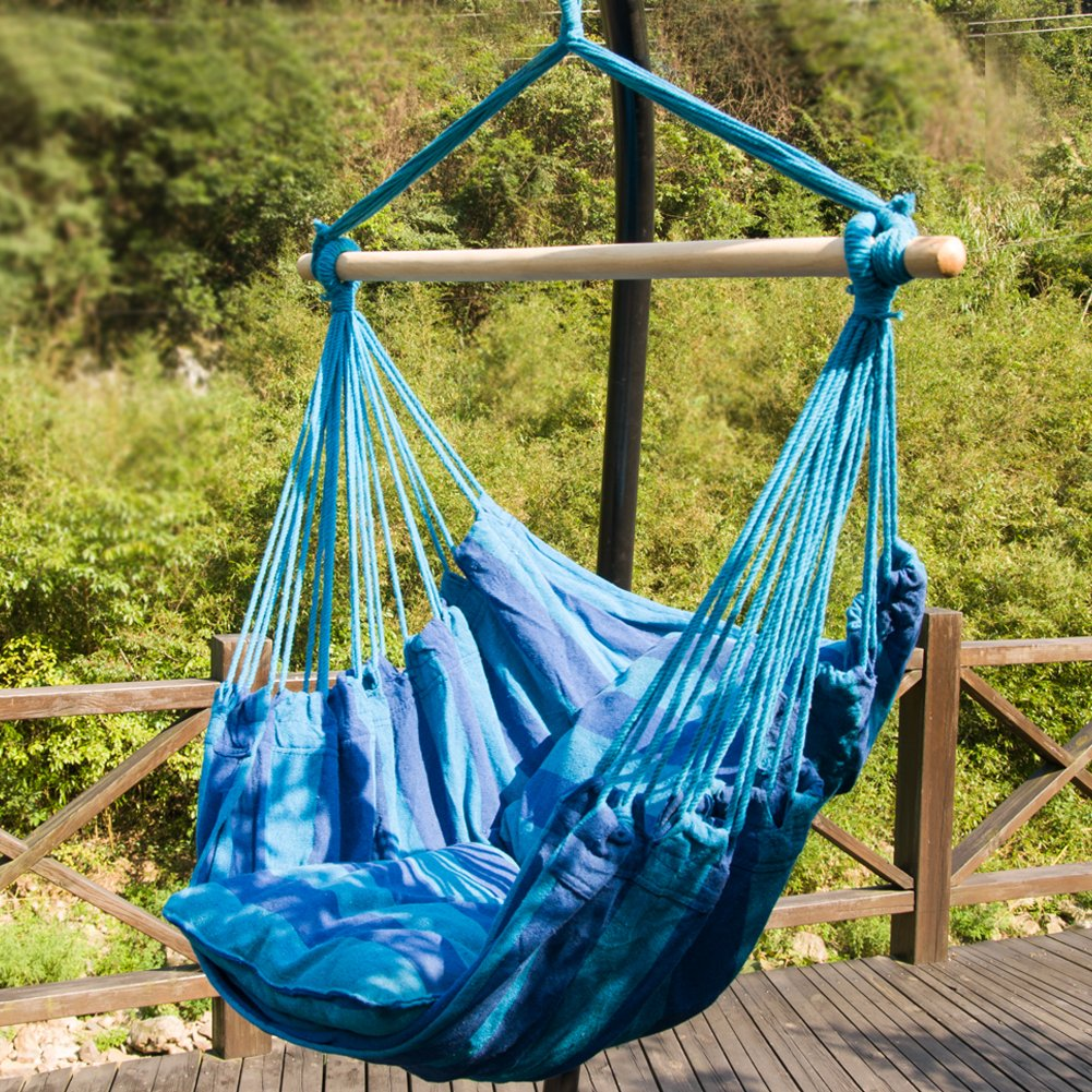 Outdoor hammock hanging chair rope portable hiking camping for Rope hammock plans