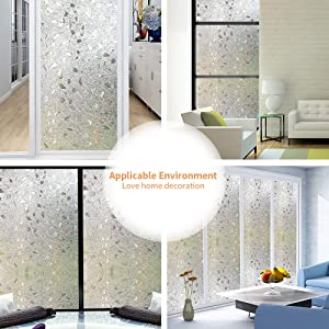 Wopeite Frosted Window Film Self-Adhesive Privacy Stained Glass Window Film (17.7 X 78.7 Inches)