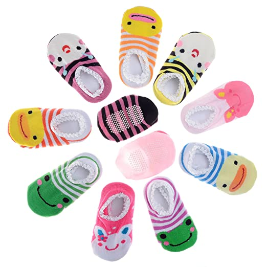 Pinksee Baby Infant Girls 5 Pairs Cotton Animal Stripes Anti Slip Booties Socks 0-18 months
