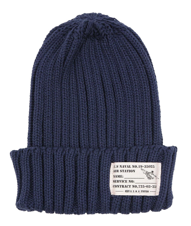 Amazon.co.jp: ラベル付きリブ編みニット帽 ネイビー F: 服&ファッション小物通販