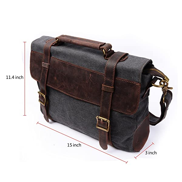 S ZONE Vintage Canvas Leather Messenger Traveling Briefcase Shoulder Laptop Bag 2016