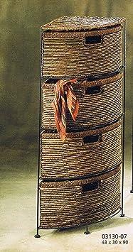 regal mit metallrahmen und 4 schubf cher in braun aus bananenblatt us129. Black Bedroom Furniture Sets. Home Design Ideas