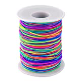 Outus 1 mm Elastic Cord Beading Threads Stretch String Fabric Crafting Cords for Jewelry Making (Rainbow, 100 m) (Color: Rainbow, Tamaño: 100 m)