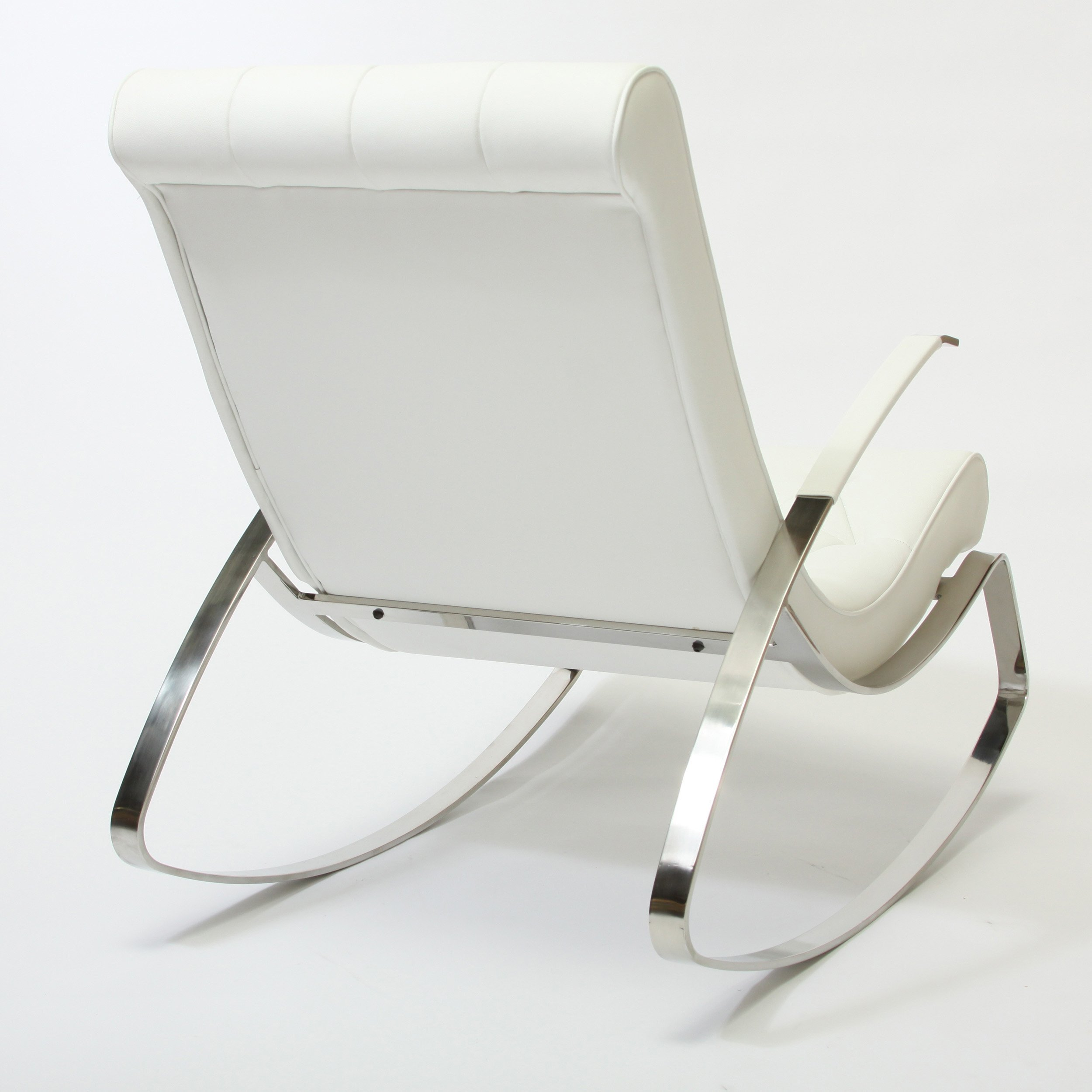 Cupola Tufted White Leather Rocking Chair FurnitureNdecor