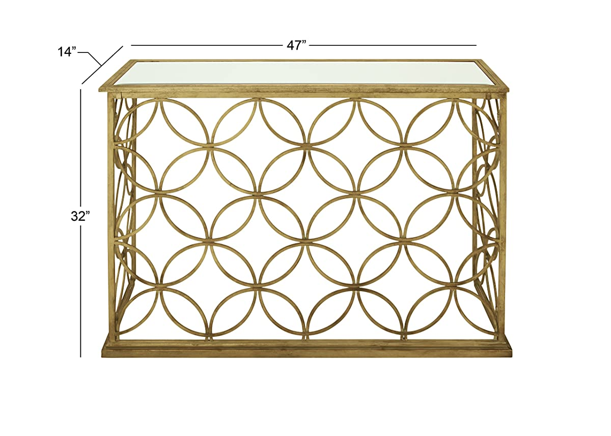 """Deco 79 67062 Metal Glass Console Table, 47"""" x 32"""", Gold"""
