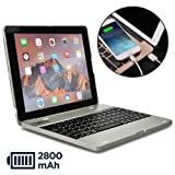 COOPER KAI SKEL P1 Keyboard case compatible with iPad 4, iPad 3, iPad 2 | Bluetooth, Wireless Clamshell Cover with Keyboard | Built-in 2800mAh Power Bank to charge iPad, iPhone | 60HR Battery (Silver) (Color: Silver, Tamaño: Apple iPad 2/3/4)