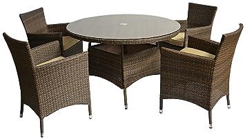 Polywood Rattan Gartenmöbelgruppe Sitzgruppe Set 5-teilig in braun vier Sessel ein Tisch 120 cm rund