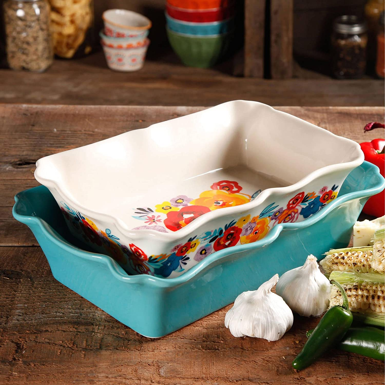The Pioneer Woman Flea Market 2-Piece Decorated Rectangular Ruffle Top Ceramic Bakeware Set, turquoise & floral baker
